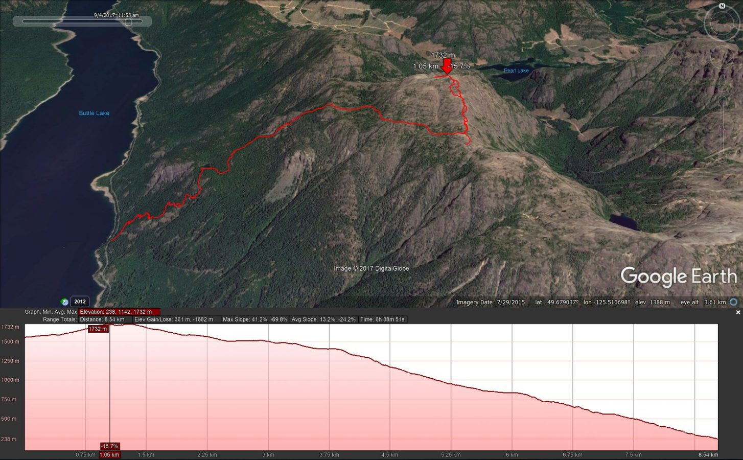 NW Peak and Descent to Buttle Lake - Google Earth Track