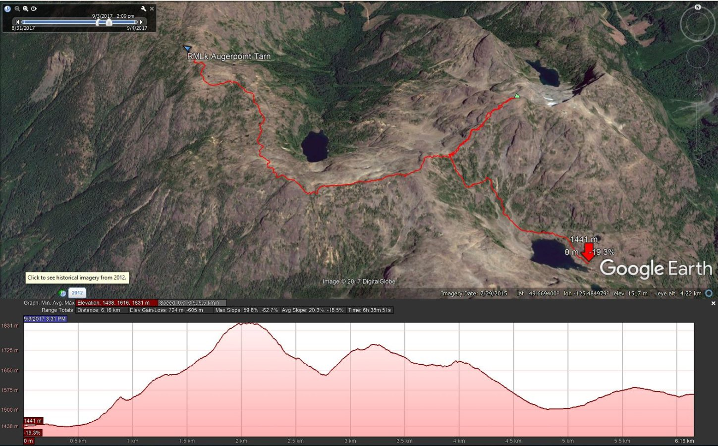 Ruth Masters Lake to Augerpoint Mtn. Summit to Base of NW Peak - Google Earth Track