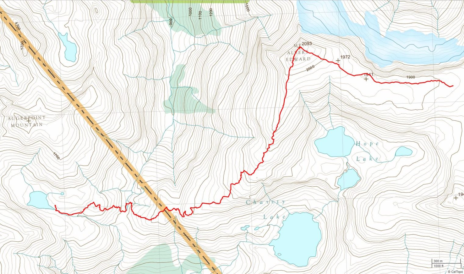 Base of Mt. Albert Edward to Ruth Masters Lake - USGS Topo Map Track