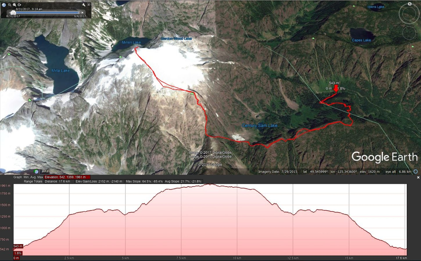 Comox Glacier - Google Earth Track