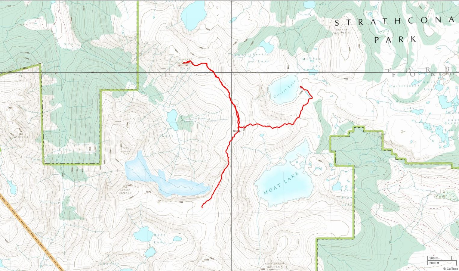 Circlet Lake to Jutland Mtn. to Base of Mt. Albert Edward - USGS Topo Map Track