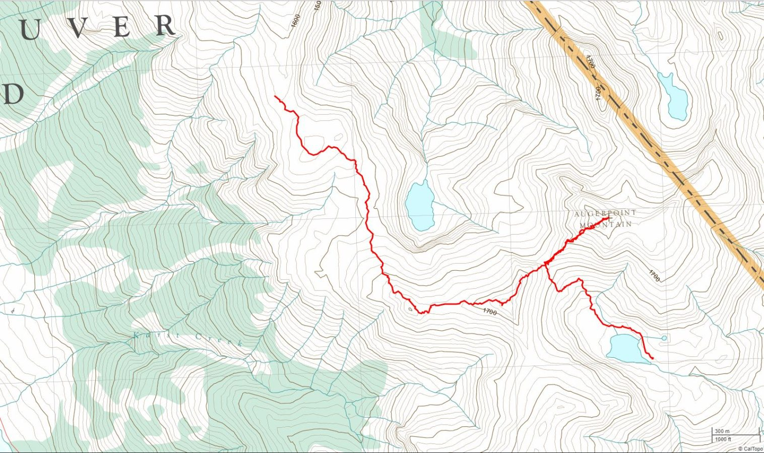 Ruth Masters Lake to Augerpoint Mtn. to Base of NW Peak - USGS Topo Map Track