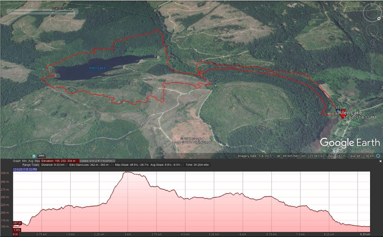 Cumberland Hills - AllenLake -Google Earth Track
