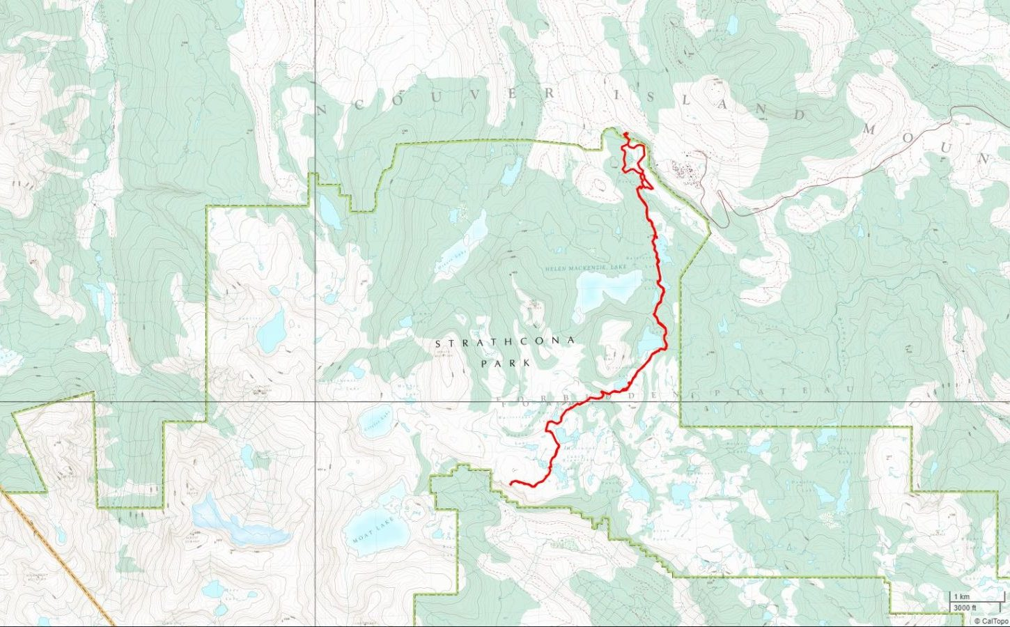 Raven Lodge to Cruickshank Lookout - USGS Topo Map Track